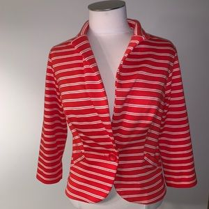 Metaphor red & white striped blazer